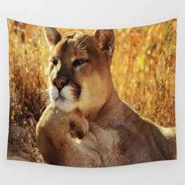 The Golden Thinker 🐾 Cougar 🐾 Wall Tapestry