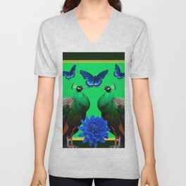 BLUE BUTTERFLIES & GREEN PEACOCKS FLORAL Unisex V-Neck
