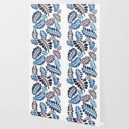Blue leaves pattern Wallpaper