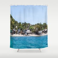 philippines Shower Curtains featuring Chapel Reef at Apo Island Philippines by Jennifer Stinson