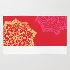 Happy bright lace flower - red Rug