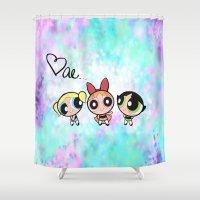 powerpuff girls Shower Curtains featuring Powerpuff Girls by Mind of Bae