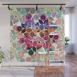 Pink and indigo flower pattern Wall Mural