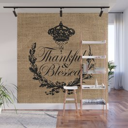 french country jubilee crown thanksgiving fall wreath beige burlap thankful and blessed Wall Mural