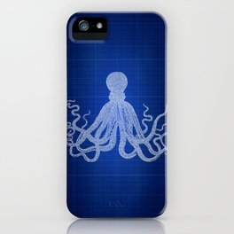 Octopus Beach Art, Blueprint Blue, Patent Art, Beach House Wall Art, iPhone Case