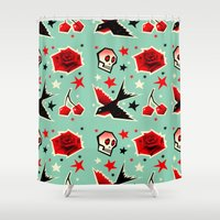 yetiland Shower Curtains featuring Swallow the cherry by Yetiland