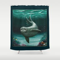 hawaiian Shower Curtains featuring Hawaiian Monk Seal ~ Acrylic by Amber Marine