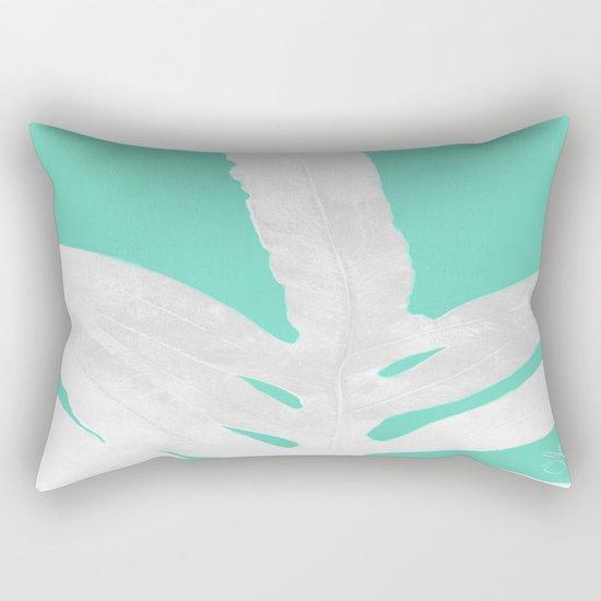 Green Fern on Ice Mint Green Inverted Silver Rectangular Pillow