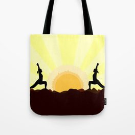 Yoga Landscape With 2 Women Tote Bag