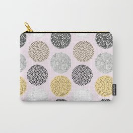 Yellow, White, Gray, Pink and Black Circle Print Carry-All Pouch