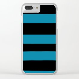 Primary Blue, Wishing Well Blue, Amazing Sky Blue, Blue to the Bone Hand Drawn Fat Horizontal Stripe Clear iPhone Case