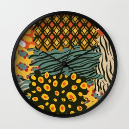 Colorful African Animal Pattern Wall Clock