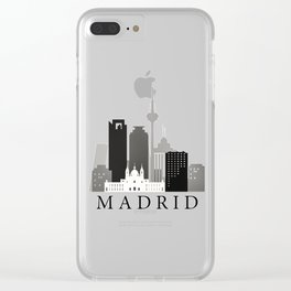 Black and white Madrid skyline Clear iPhone Case