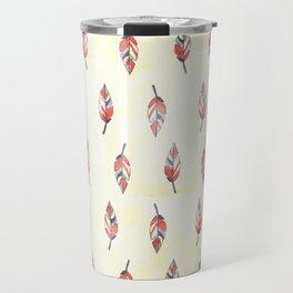 Modern coral yellow watercolor boho leaves Travel Mug