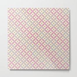 Circular Patchwork Pattern in Green, Yellow & Pink Metal Print