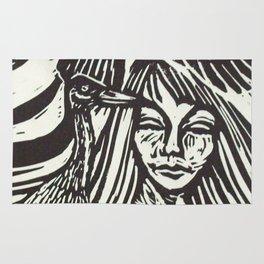 Women with Sandhill Cranes- Woodcut Rug