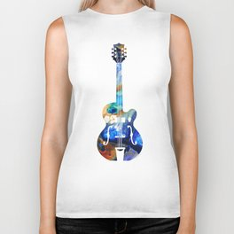 Vintage Guitar - Colorful Abstract Musical Instrument Biker Tank