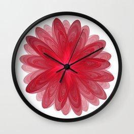 Red Flower Bloom Fractal Wall Clock