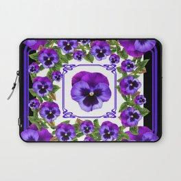 SPRING PURPLE PANSY FLOWERS  BLACK GARDEN ART Laptop Sleeve