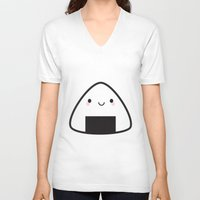 nori V-neck T-shirts featuring Kawaii Onigiri Rice Ball by Marceline Smith