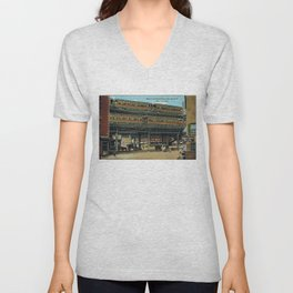 Bowery NYC Double Decker Elevated Train Unisex V-Neck