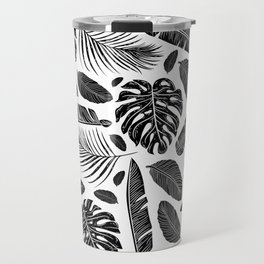 Tropical Monochrome Black and White Botanical Pattern Travel Mug