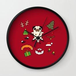 Christmas Pug Doll Wall Clock