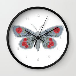 spider web and rose (made up moth) Wall Clock