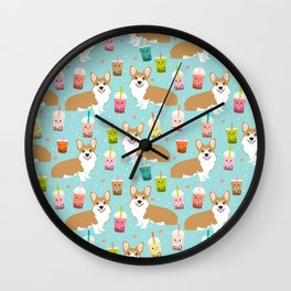 Corgi Bubble Tea design cute corgi pastel drinks food kawaii design Wall Clock