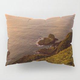jacks bay new zealand beautiful colors at sunset farmland bay orange sunset rocks Pillow Sham