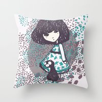 chihiro Throw Pillows featuring the chihiro girl #2 by dora .