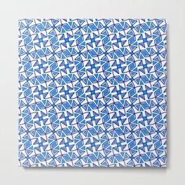 Sapphire Blue and White Pinwheel Pattern Diamond Design Triangles Southwestern Design Pattern Metal Print