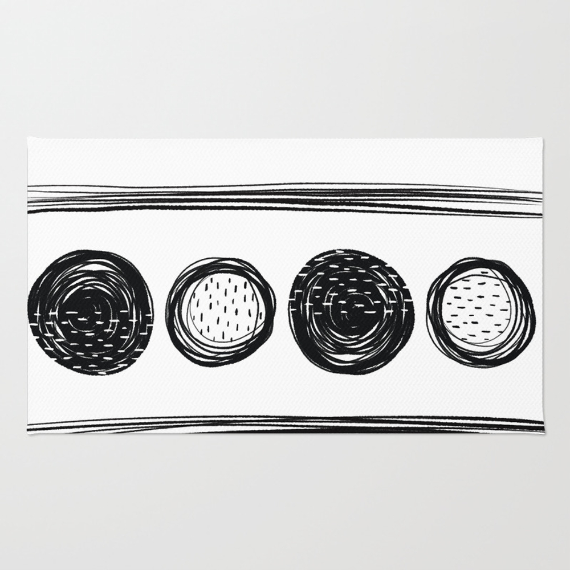 Black White One Rug by Karapeters RUG9062757
