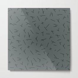 Abstract criss cross stripes irregular minimal lines stone blue Metal Print
