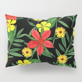 Black red green watercolor hand painted floral Pillow Sham