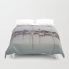 Sail Boats and Reflections in the Harbor Duvet Cover