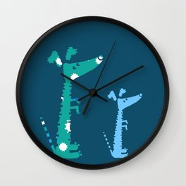 Patchwork of eight images in blue, purple and black colors Wall Clock