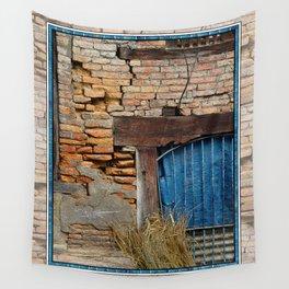 OLD BRICK WALL AND BLUE TARP WINDOW BHAKTAPUR NEPAL Wall Tapestry