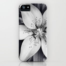 Black and White Lily Flower Photography, Grey Floral Art, Lillies Photo, Grey Lilly Nature Print iPhone Case