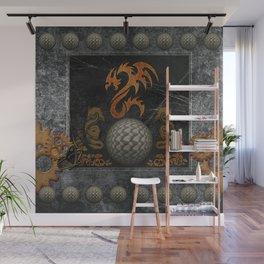 Awesome tribal dragon made of metal Wall Mural