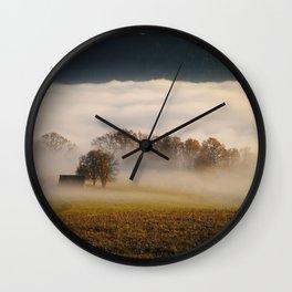 Trees - Fog - Field - Meadow - Forest - Hut - Autumn - Nature. Little sweet moments. Wall Clock