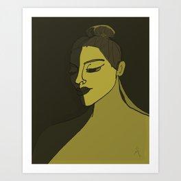 Model Topknot Yellow Art Print