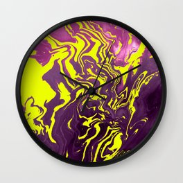 Yellow, Purple and Pink Intertwine; Fluid Abstract 50 Wall Clock