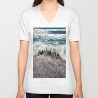 surf V-neck T-shirts featuring Surf by Art-Motiva