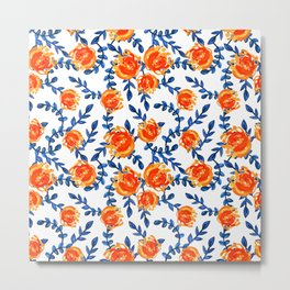 Lovely Blue and Orange Watercolor Floral Print Metal Print