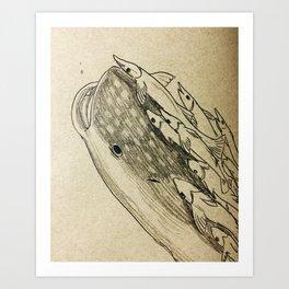 flying in the sea Art Print