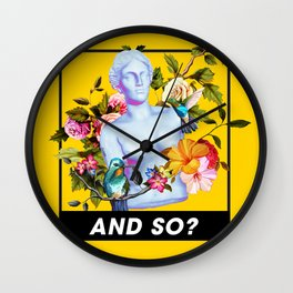 Vaporwave Venus with Flowers Wall Clock