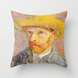 Vincent Van Gogh - Self Portrait with a Straw Hat Throw Pillow