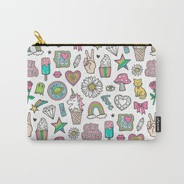 Patches Stickers 90's Doodle Unicorn Ice Cream, Rainbow, Hearts, Stars, Gemstones,Flowers White Carry-All Pouch