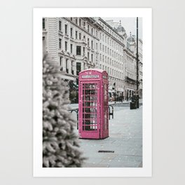 Pink Telephone Booth in the Snow Art Print
